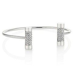 The Collection - Silver pave t bar open bangle