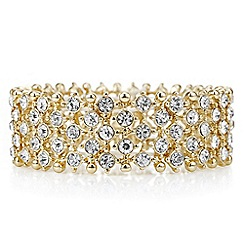 The Collection - Gold crystal bar stretch bracelet