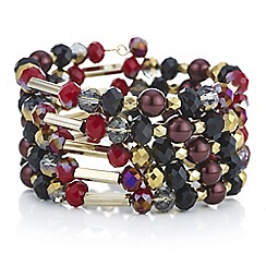 The Collection - Red multi bead coil bracelet
