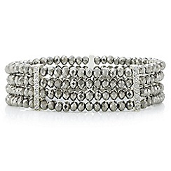 The Collection - Grey beaded crystal multi row bracelet