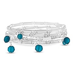 The Collection - Blue droplet silver coil bracelet