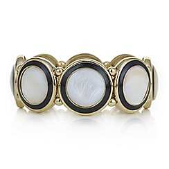 The Collection - Black pearl disc stretch bracelet