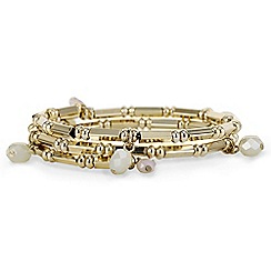 The Collection - Crystal droplet gold coil bracelet