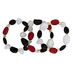 The Collection - Red chunky stone bracelet set