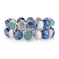 The Collection - Blue crystal disc multi row bracelet