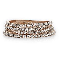 The Collection - Rose gold crystal diamante bracelet set