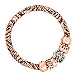 The Collection - Rose gold mesh pave link bracelet