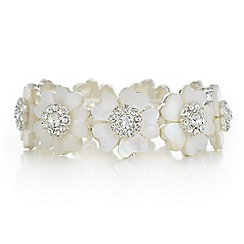 The Collection - Cream pearl crystal floral bracelet