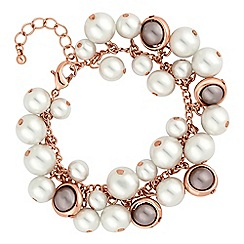 The Collection - Gold and grey pearl cluster bracelet