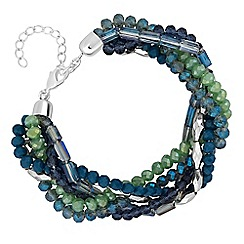 The Collection - Green and blue tonal beaded bracelet