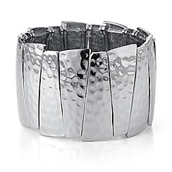 The Collection - Silver textured graduated stick bracelet
