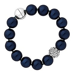 The Collection - Navy pearl and pave ball bracelet