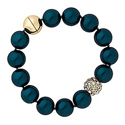 The Collection - Teal pearl and pave ball bracelet