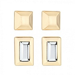 J by Jasper Conran - Designer set of two crystal gold stud earrings