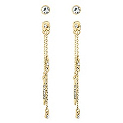 J by Jasper Conran - Designer two pack crystal and gold chain earring set