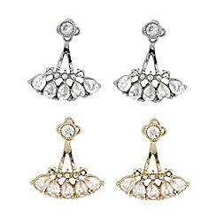 J by Jasper Conran - Designer two tone crystal drop earring set