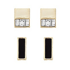 J by Jasper Conran - Designer Set of two gold square crystal stud earrings