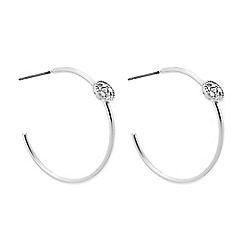 J by Jasper Conran - Designer silver pave disc hoop earring