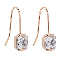 J by Jasper Conran - Designer Rose gold cubic zirconia square drop earring