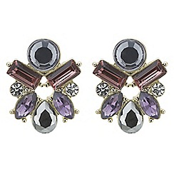 J by Jasper Conran - Designer grey and purple crystal stone cluster earring