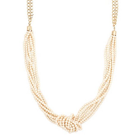 J by Jasper Conran - Knotted mini cream pearl and taupe bow necklace