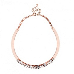 J by Jasper Conran - Designer crystal set rose gold torque necklace
