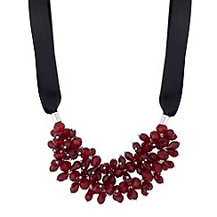 J by Jasper Conran - Designer red floral beaded double row necklace