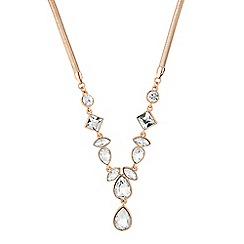 J by Jasper Conran - Designer rose gold mixed crystal drop necklace