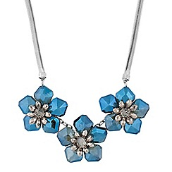 J by Jasper Conran - Designer hematite and blue 3d flower necklace