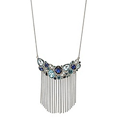 J by Jasper Conran - Blue cluster crystal chain tassle necklace