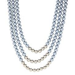 J by Jasper Conran - Designer blue and silver pearl multi row necklace