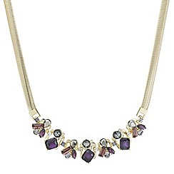 J by Jasper Conran - Designer grey and purple crystal stone cluster necklace