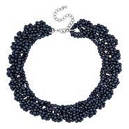 Designer navy blue beaded twist necklace