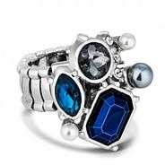 Designer blue mix stone cluster stretch ring