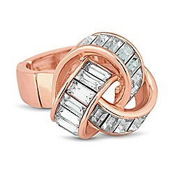 J by Jasper Conran - Designer rose gold baguette stone stretch ring