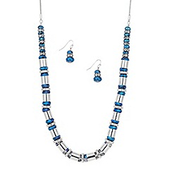 J by Jasper Conran - Designer blue bead and silver tubular necklace and earring set