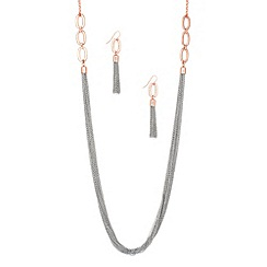 J by Jasper Conran - Designer rose gold and silver multi chain necklace and earring set