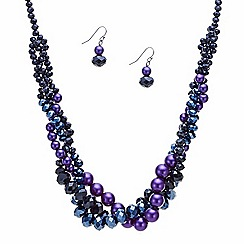 J by Jasper Conran - Designer pearl and purple bead twist jewellery set