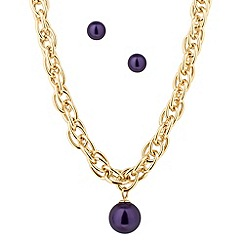 J by Jasper Conran - Designer purple pearl drop jewellery set