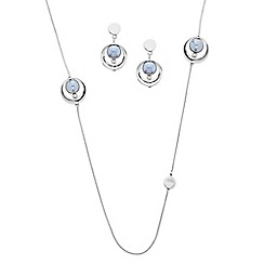 J by Jasper Conran - Designer grey pearl with polished surround jewellery set