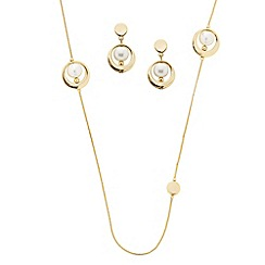 J by Jasper Conran - Designer cream pearl with polished surround jewellery set