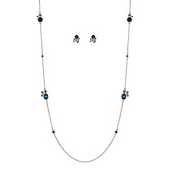 J by Jasper Conran - Blue crystal long chain necklace with matching earring