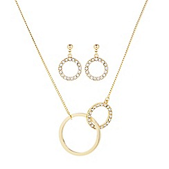 J by Jasper Conran - Designer gold pave circle link necklace and matching earring set