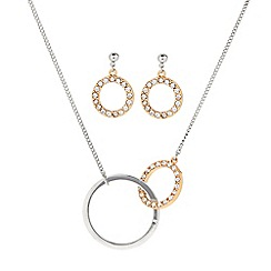 J by Jasper Conran - Designer two tone pave circle link necklace and earring set