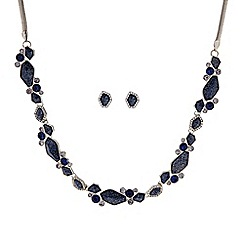 J by Jasper Conran - Designer blue glitter mixed shape allway necklace and earring set