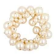 Cream pearl and silver ball bubble stretch bracelet