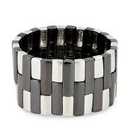 Hematite and rhodium rectangular panelled stretch bracelet