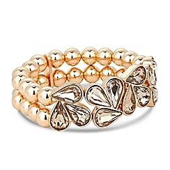 J by Jasper Conran - Designer gold crystal triple cluster stretch bracelet