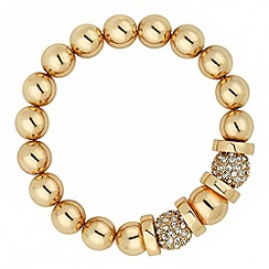 J by Jasper Conran - Designer crystal ball and gold disc stretch bracelet