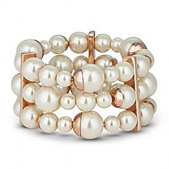J by Jasper Conran - Designer rose gold capped pearl stretch bracelet